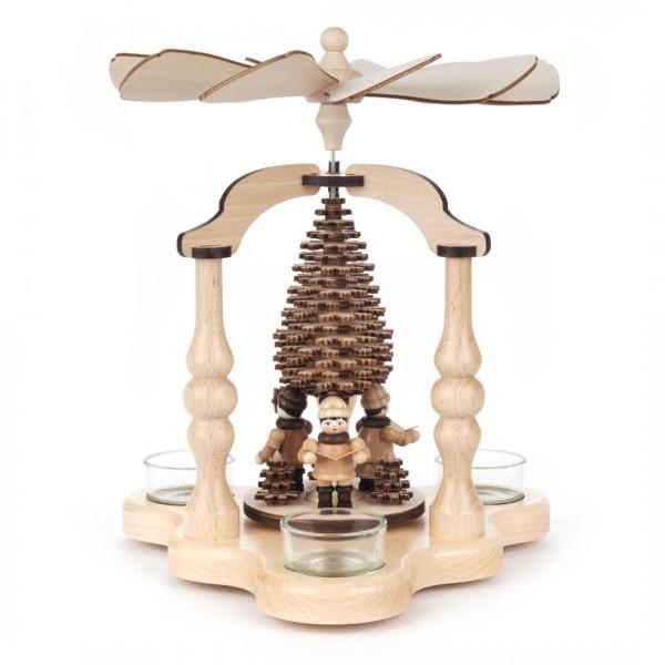 Weihnachtspyramide mit Sternsingern, für Teelichte