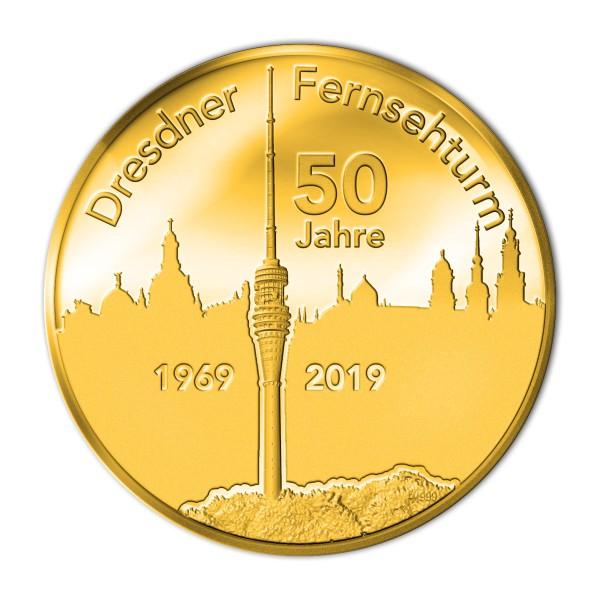 Sonderprägung Feingold - 50 Jahre Fernsehturm Dresden