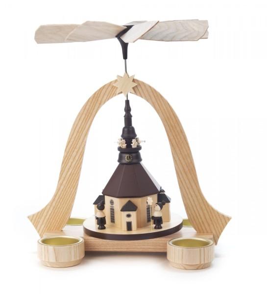 Weihnachtspyramide mit Seiffener Kirche, Kurrende und Turmbläsern für Teelichte