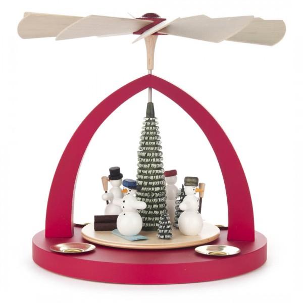 Weihnachtspyramide mit Schneemännern, rot, für Kerzen Durchmesser 14mm