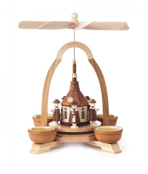 Weihnachtspyramide Seiffener Kirche und Kurrende für Teelichte