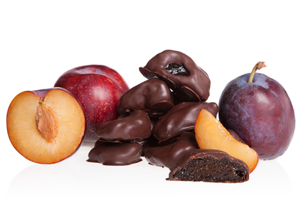 Pflaumen in Bio-Schokolade