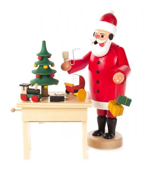 Räuchermann Weihnachtsmann mit Tisch und Musikspielwerk