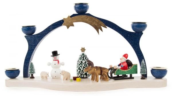 Schwibbogen Weihnachtsmann / Elchgespann für Kerzen Durchmesser 14mm