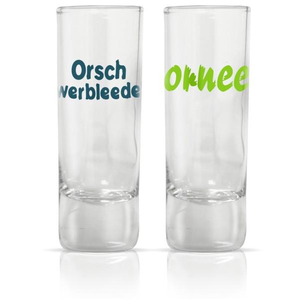 """Schnapsgläser-Set """"Ornee / Orschwerbleede"""""""