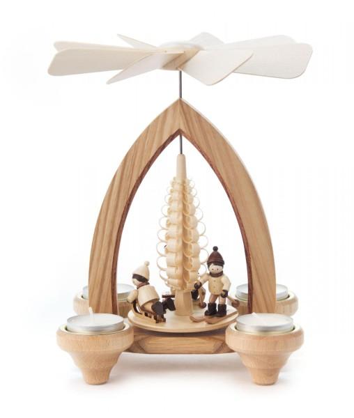 Weihnachtspyramide mit Winterkindern für Teelichte