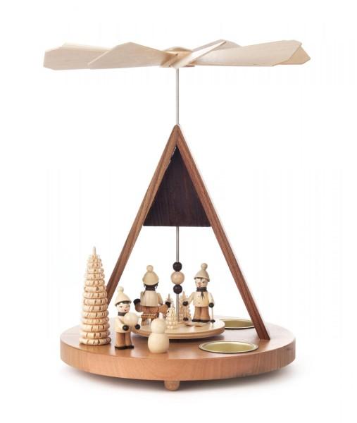 Weihnachtspyramide mit Winterkindern und Spitzdach für Teelichte