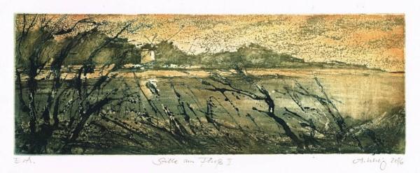 André Uhlig Farbradierung Stille am Fluss II