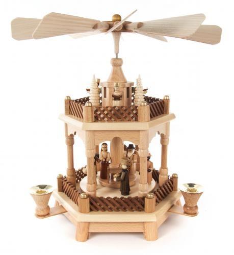 Weihnachtspyramide mit Christi Geburt 1-stöckig für Kerzen Durchmesser 14mm