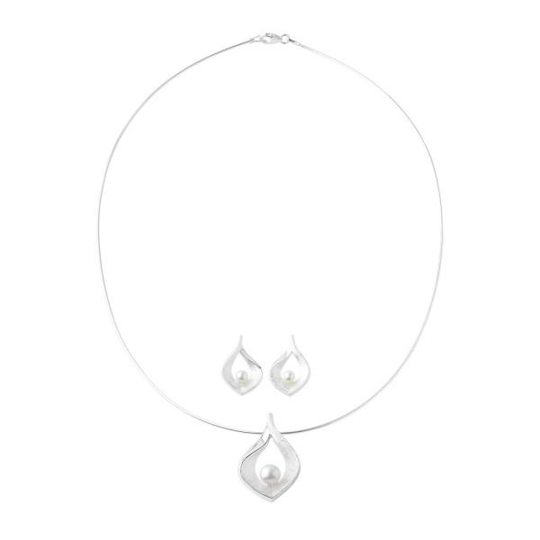Schmuckset Drop of Silver mit Perlen