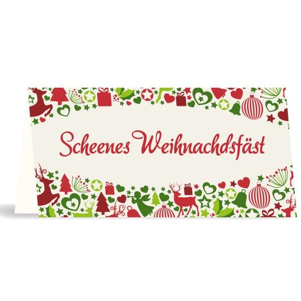 """Karte mit Umschlag """"Scheenes Weihnachdsfäst"""" quer"""