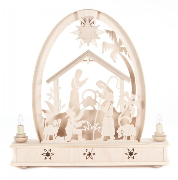 Erzgebirgsbogen mit Christi Geburt, elektrisch beleuchtet