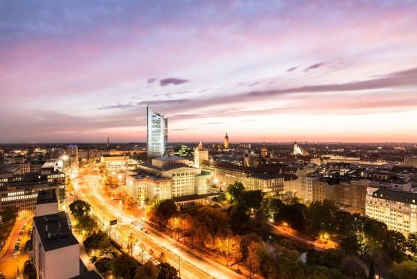 Wandbild Leipzig - Blick vom Messehochhaus auf die Innenstadt (Motiv JM04)