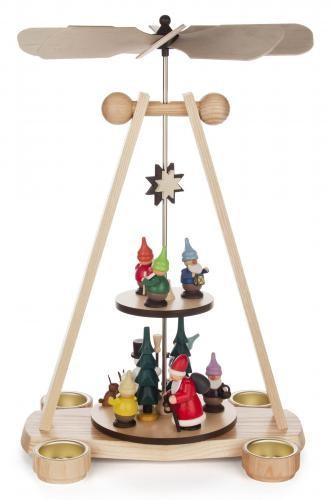 Weihnachtspyramide mit Zwergen 2-stöckig für Teelichte