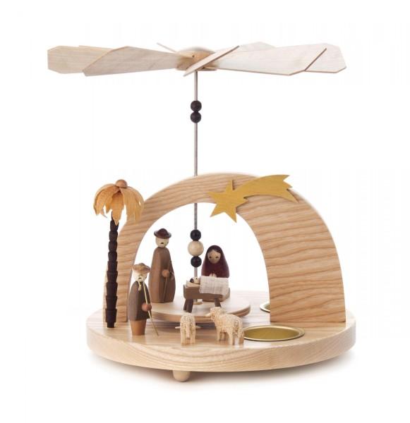 Weihnachtspyramide mit Christi Geburt und Rundbogen für Teelichte