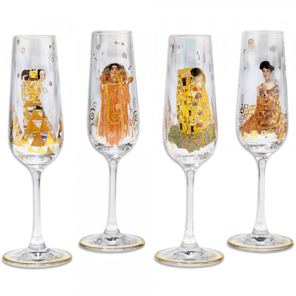 Gustav Klimt: 4 Sektgläser mit Künstlermotiven im Set