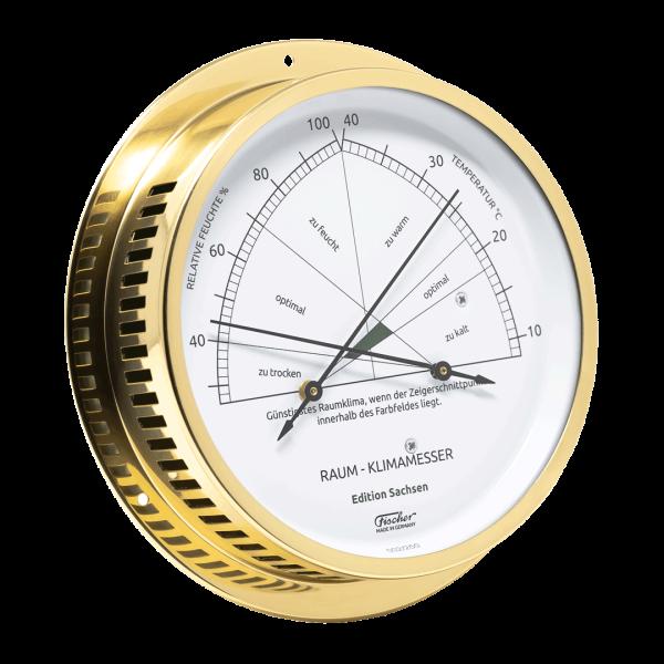 Fischer Raum-Klimamesser - Edition Sachsen - 150 mm Messing poliert