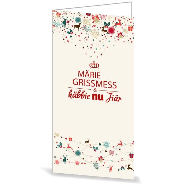 """Karte mit Umschlag """"Märie Grissmess & häbbie nu Jiär"""""""