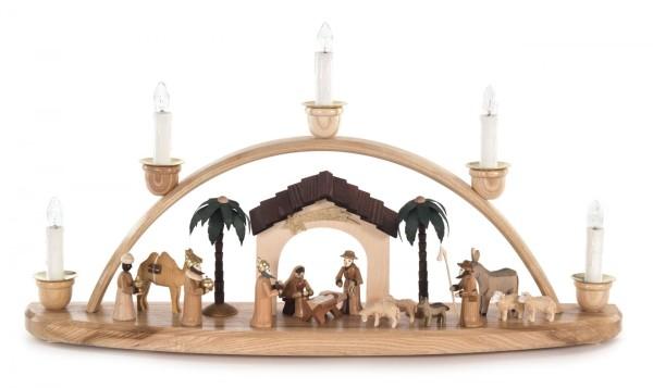 Schwibbogen mit Christi Geburt natur, elektrisch beleuchtet