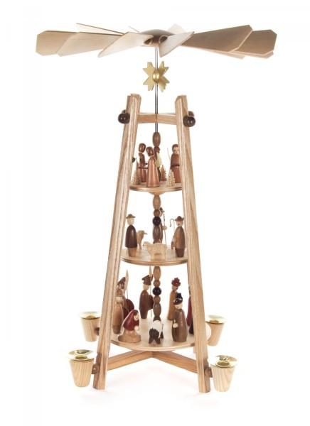 Stabpyramide Christi Geburt 3-stöckig für Kerzen Durchmesse 14mm
