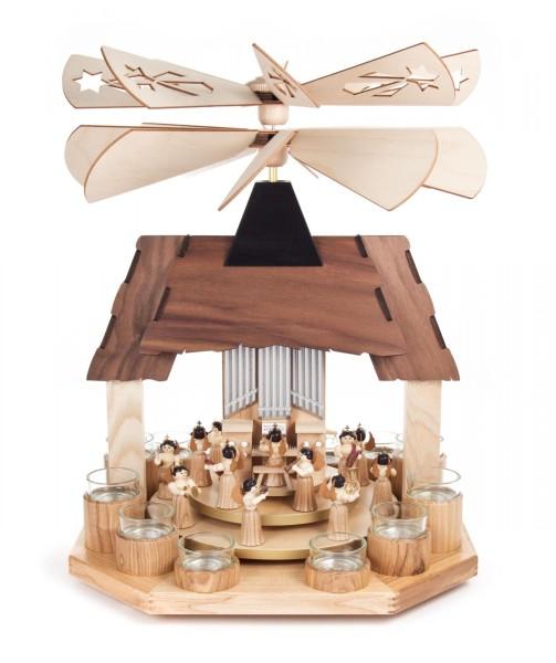 Weihnachtspyramide mit Engeln, 2 Teller und 2 Flügelräder, für Teelichte
