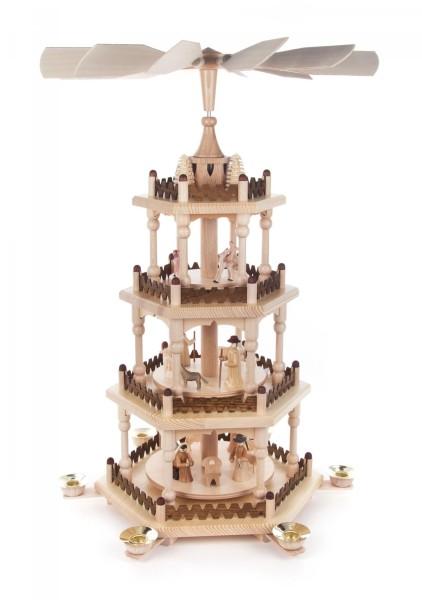 Weihnachtspyramide mit Christi Geburt, 3-stöckig für Kerzen Durchmesser 14mm