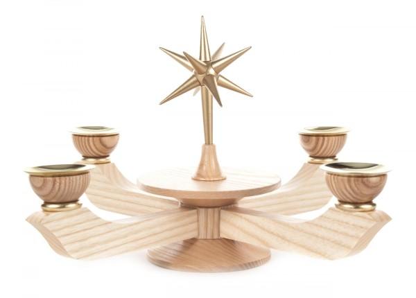 Adventsleuchter mit Stern natur groß, für Kerzen Durchmesser 20mm