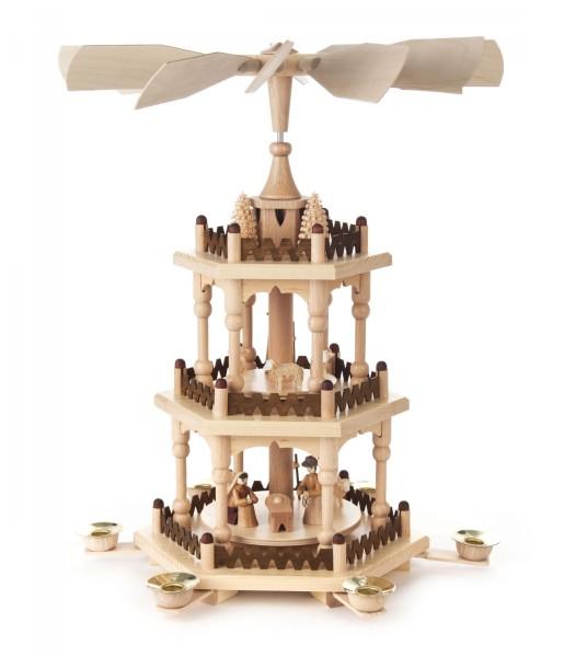 Weihnachtspyramide mit Christi Geburt, 2-stöckig für Kerzen Durchmesser 14mm
