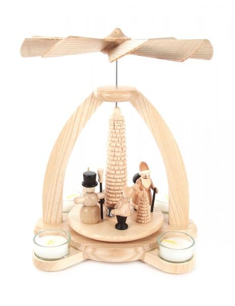 Weihnachtspyramide mit Weihnachtsmann und Schneemann für Teelichte