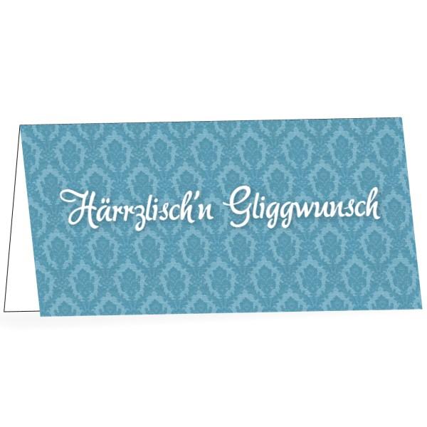 """Karte mit Umschlag """"Härrzlischn Gliggwunsch"""""""