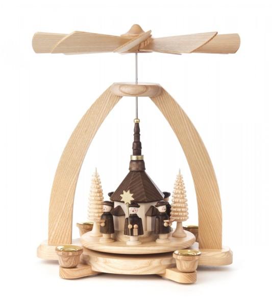 Weihnachtspyramide mit Seiffener Kirche und Kurrende für Kerzen Durchmesser 14mm