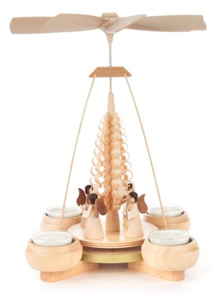 Weihnachtspyramide mit Engeln, für Teelichte