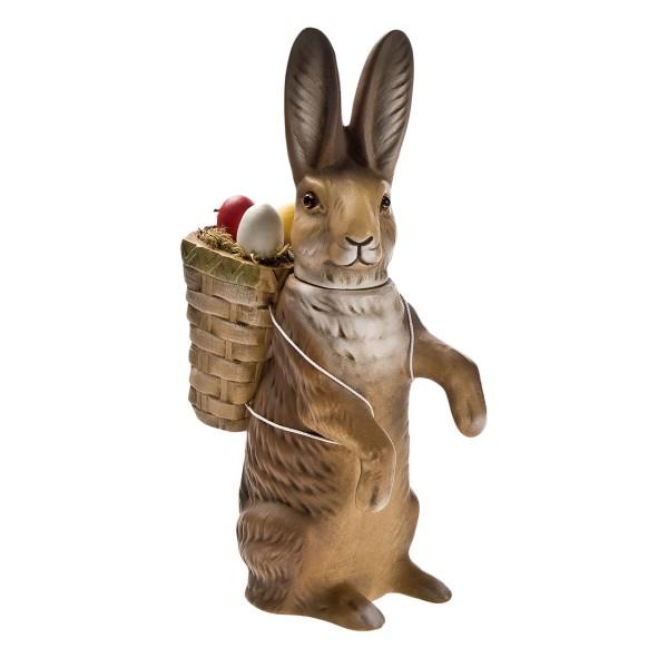 MAROLIN - Kleiner Osterhase mit Korb zum Füllen, braun, stehend