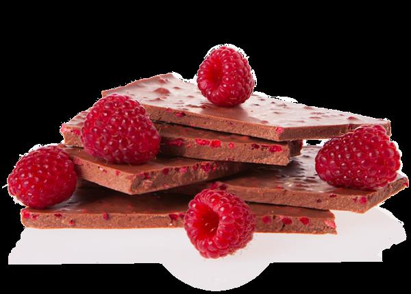 Bio-Schokolade (handgeschöpft) - Himbeeren