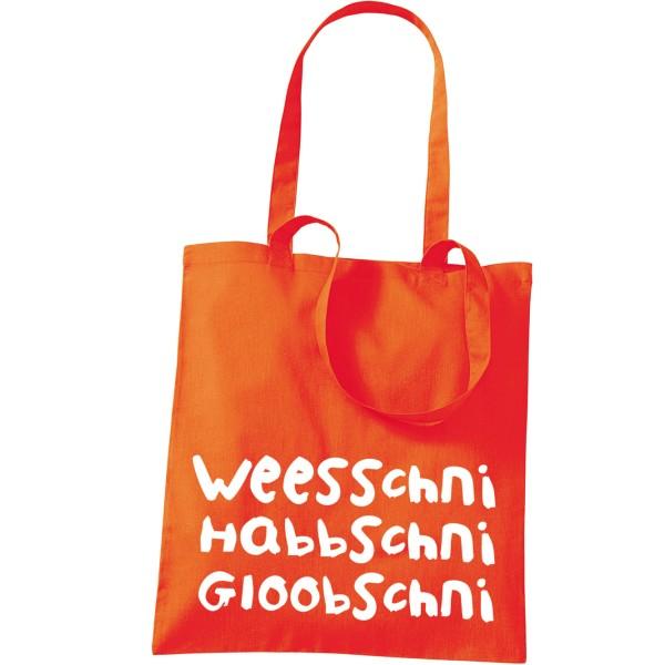 """Stoffbeutel """"Weesschni, habbschni, gloobschni"""""""