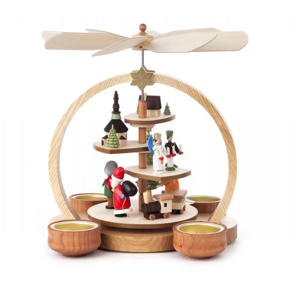 """Weihnachtspyramide """"Seiffener Weihnacht"""" farbig, rund, für Teelichte"""
