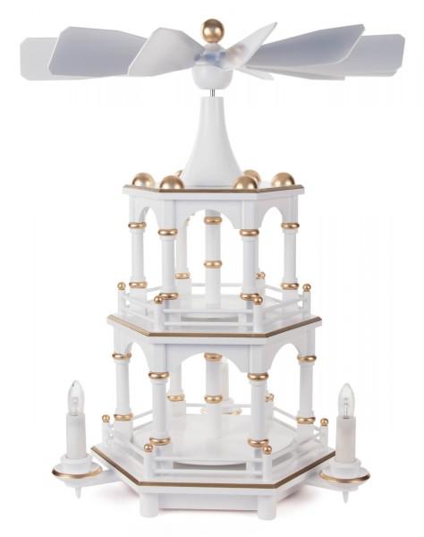 Weihnachtspyramide unbestückt, weiß, 2-stöckig, mit elektrischem Antrieb und Beleuchtung