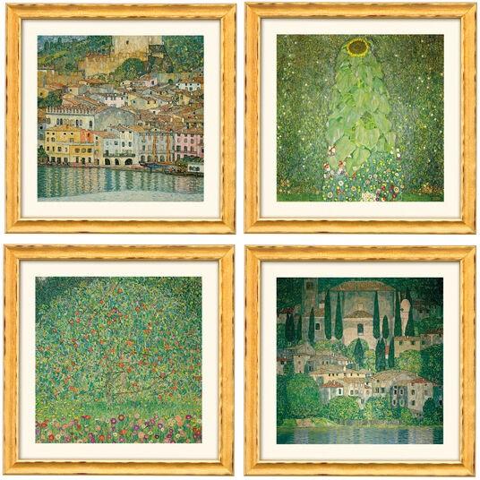 Gustav Klimt: 4 Landschaftsbilder im Set