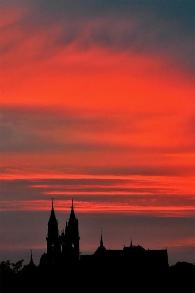 Wandbild Meißen - Domtürme im Sonnenuntergang (Motiv CH01)