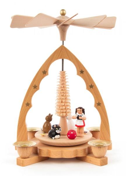 Weihnachtspyramide Katzen, natur für Kerzen Durchmesser 10mm