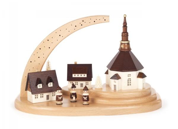 Seiffener Dorf und Kurrende auf Sockel, Sternenhimmel, elektr. Innenbeleuchtung