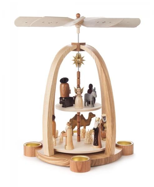 Weihnachtspyramide mit Christi Geburt, 2-stöckig für Teelichte