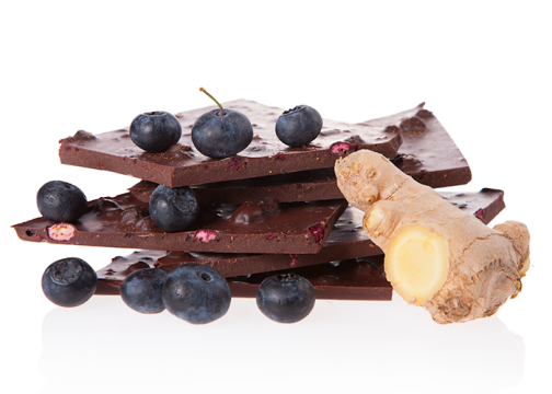 Bio-Schokolade (handgeschöpft) - Heidelbeer-Ingwer