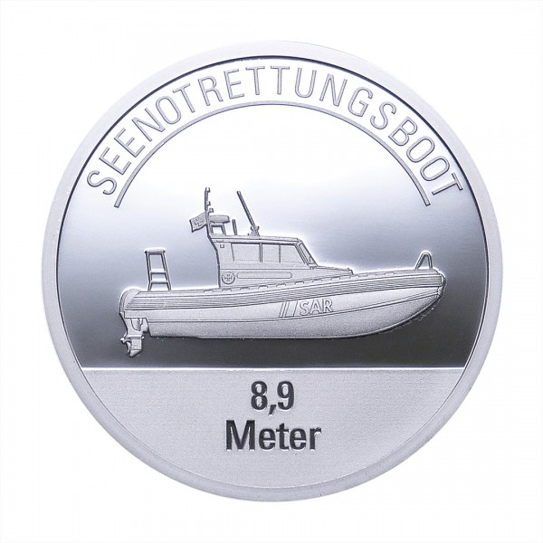 Sonderprägung Feinsilber – Die Seenotretter (DGzRS) – Seenotrettungsboot 8,9 Meter