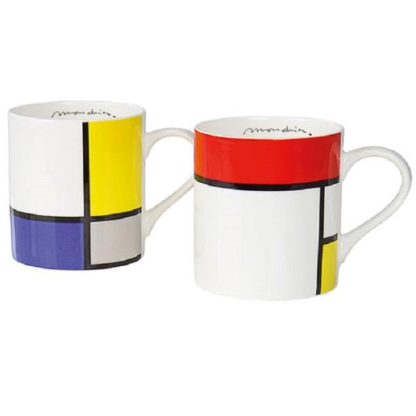 Piet Mondrian: 2 Kaffeebecher mit Künstlermotiven im Set