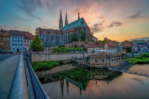Wandbild Görlitz - Farbenfroher Himmel über der Peterskirche (FL04)