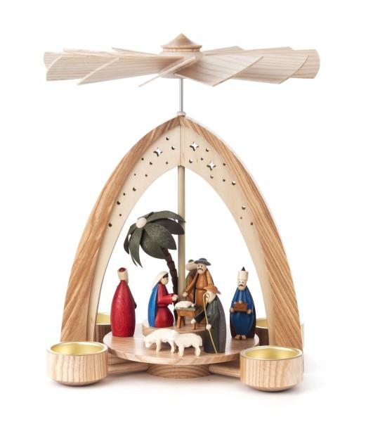 Weihnachtspyramide Christi Geburt farbig für Teelichte