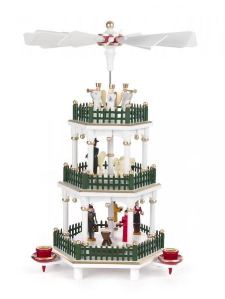 Weihnachtspyramide Christi Geburt weiß 2-stöckig für Kerzen Durchmesser 14mm