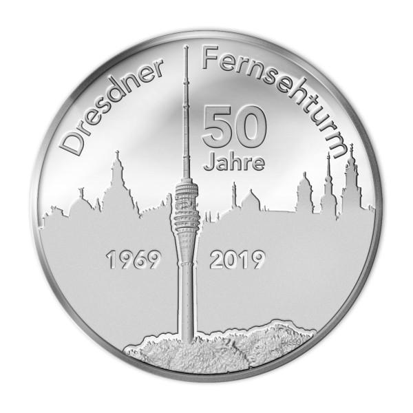 Sonderprägung Feinsilber - 50 Jahre Fernsehturm Dresden