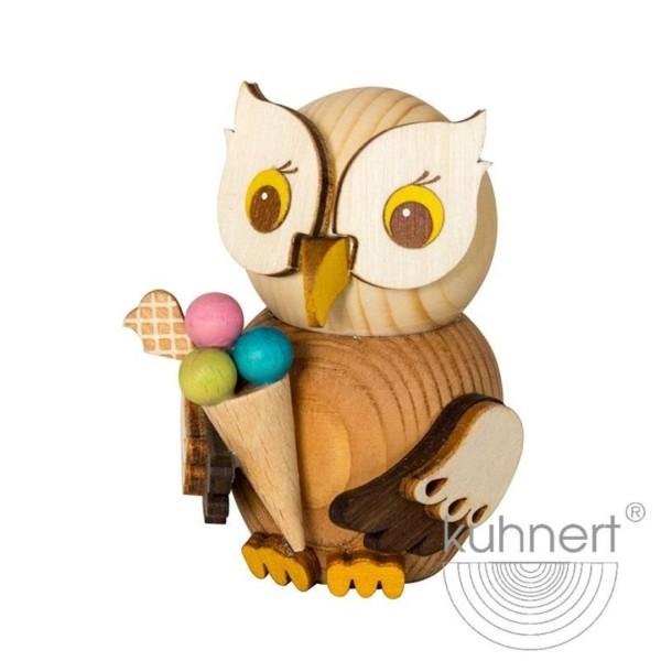Holzfigur Mini-Eule mit Eis